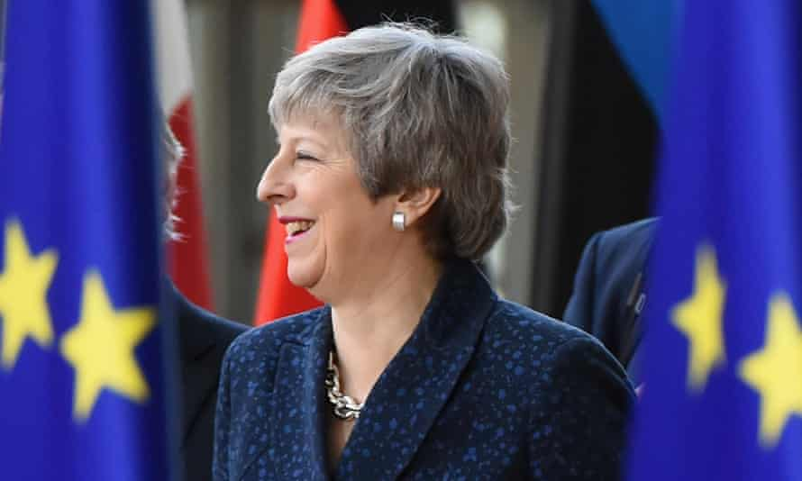 Theresa May arrives at the EU summit in Brussels on Thursday.