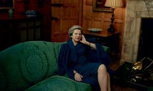 Theresa May, wearing an L.K.Bennett coat and dress as she was photographed by Annie Leibovitz for American Vogue.