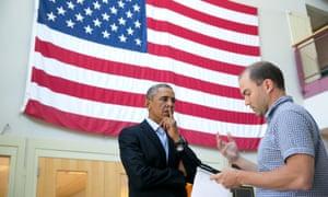 Ben Rhodes with the 'preternaturally intelligent' Barack Obama, August 2014