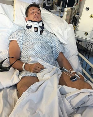 Ed Jackson in intensive care at Southmead Hospital, Bristol.