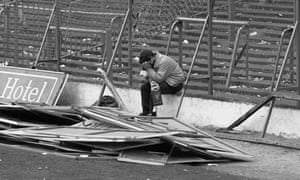 A Liverpool supporter weeps at Hillsborough stadium, after the 1989 disaster in which 96 people died.