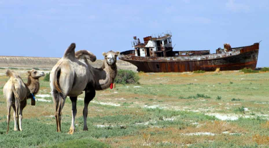 A rusty shipwreck on the dried-up seabed of the Aral Sea.