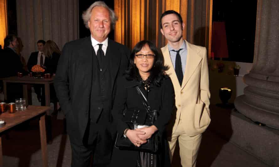 Graydon Carter, left, seen with Michiko Kakutani and his son Ash.