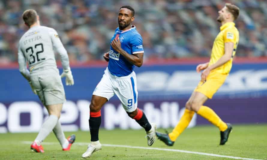 Jermain Defoe wheels away after scoring Rangers' second goal against Livingston.