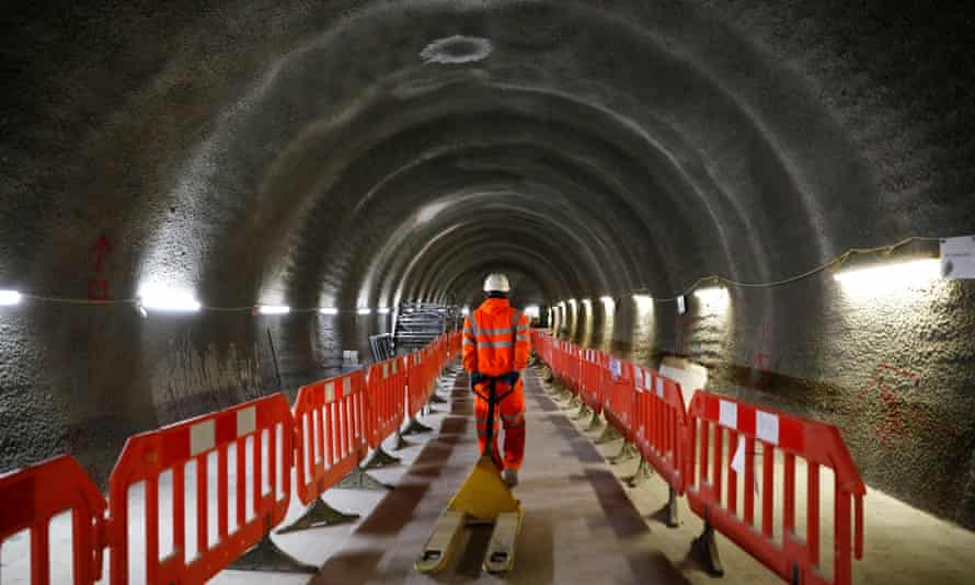 A tunnel at the new Crossrail station at Tottenham Court Road in London.