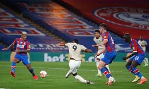 Anthony Martial scores Manchester United's second goal at Selhurst Park.