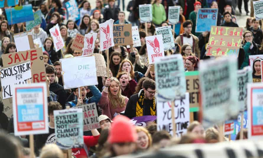 Students take part in Friday's climate strike in London