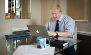 Boris Johnson working on his conference speech in his hotel room in Manchester.
