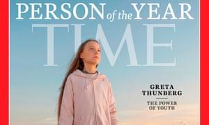 Greta Thunberg on the cover of Time magazine.