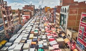 The 16 de Julio market in El Alto, under the Blue Line cable car.