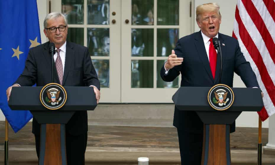 Donald Trump and Jean-Claude Juncker speak in the Rose Garden of the White House Wednesday.
