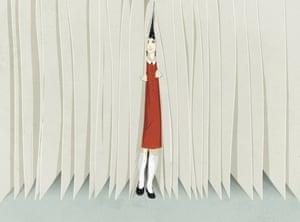 Illustrazione di una ragazza che fa capolino da dietro i ciechi