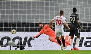 Luuk de Jong of Sevilla FC scores his team's second goal.