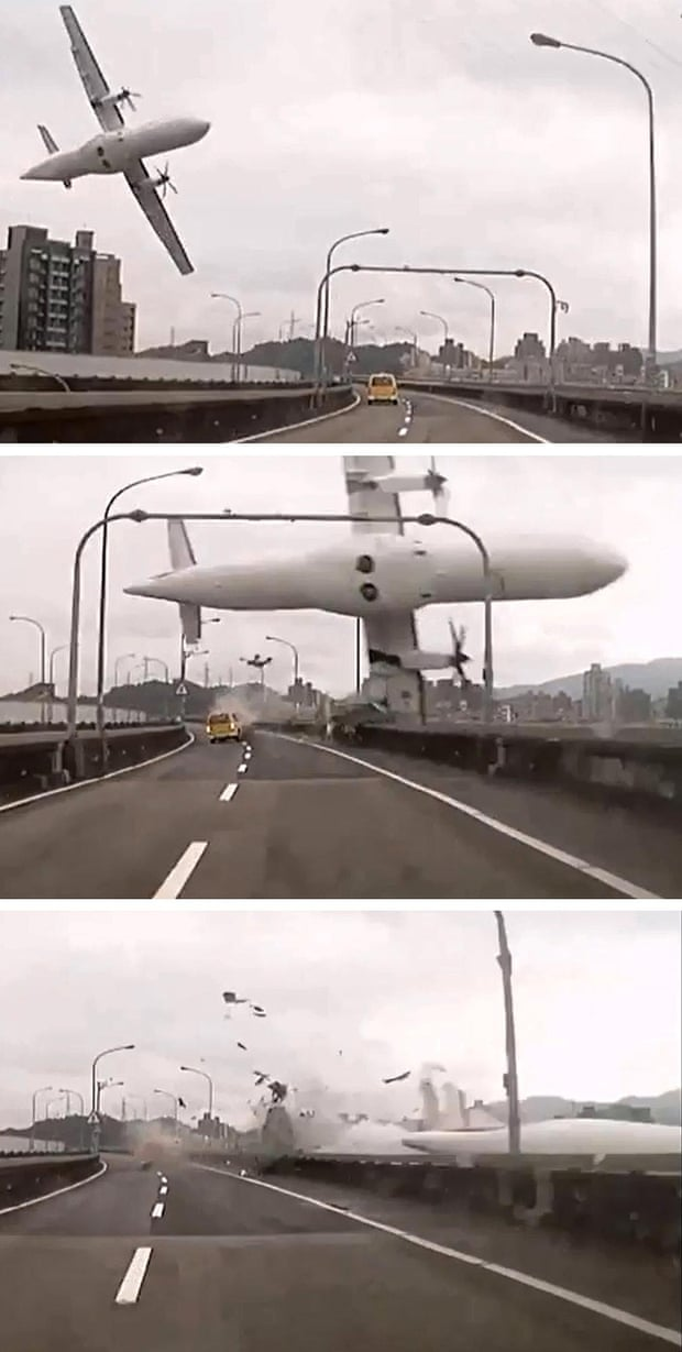 Screen grabs taken from video shows the TransAsia ATR 72-600 turboprop plane approaching and clipping an elevated motorway before crashing into the Keelung river outside Taiwan's capital Taipei.