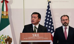 Mexican interior minister Miguel Angel Osorio Chong speaks during a joint press conference with US officials.