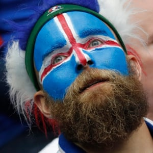 Iceland supporters are looking stunned.