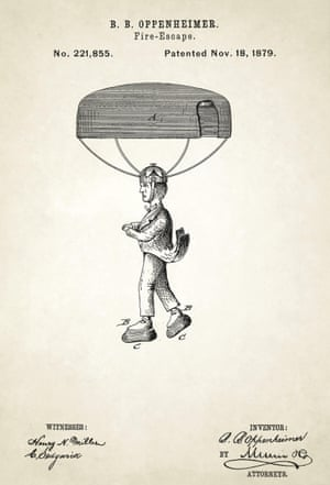 USA, 1879 Artwork of a fire escape device designed by Benjamin Oppenheimer. The parachute is attached by harness to the person's head while thick rubber soled shoes were worn to cushion the landing