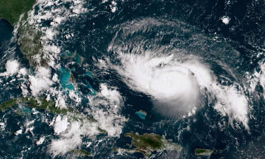 Hurricane Dorian gains strength as it tracks towards the Florida coast, on 30 August.