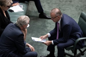 Labor leader Anthony Albanese talks to the manager of Opposition Business Tony Burke