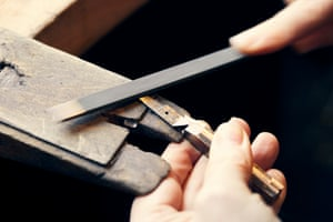 """Horne uses both traditional and unique ways to make her scissors. """"I make my own Damascus steel with friends in America every June and I have to make enough to keep me going for the next year so I will already have determined what projects I'm going to be doing for the following twelve months."""""""
