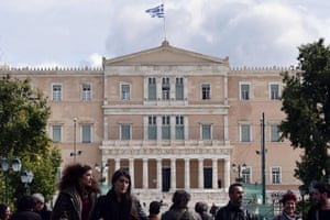 The Greek parliament in Athens on March 6, 2015. Greek Prime Minister Alexis Tsipras has requested a meeting with European Commission chief Jean-Claude Juncker, a government source said on March 6, after Athens got no help from the European Central Bank to address a cash squeeze. AFP PHOTO / LOUISA GOULIAMAKILOUISA GOULIAMAKI/AFP/Getty Images