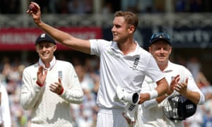 Stuart Broad comes off after the Australian innings after taken 8 wickets