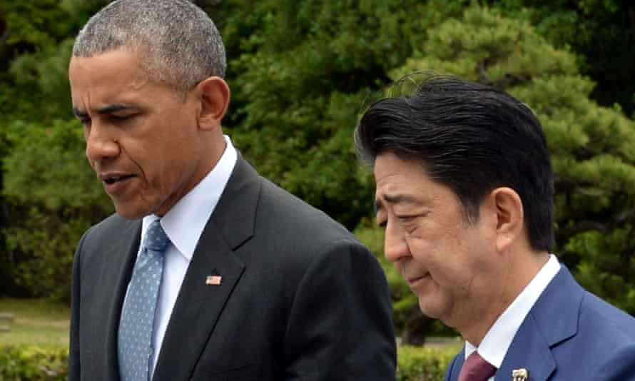 Barack Obama and Japanese prime minister Shinzo Abe at the G7 summit in Japan.
