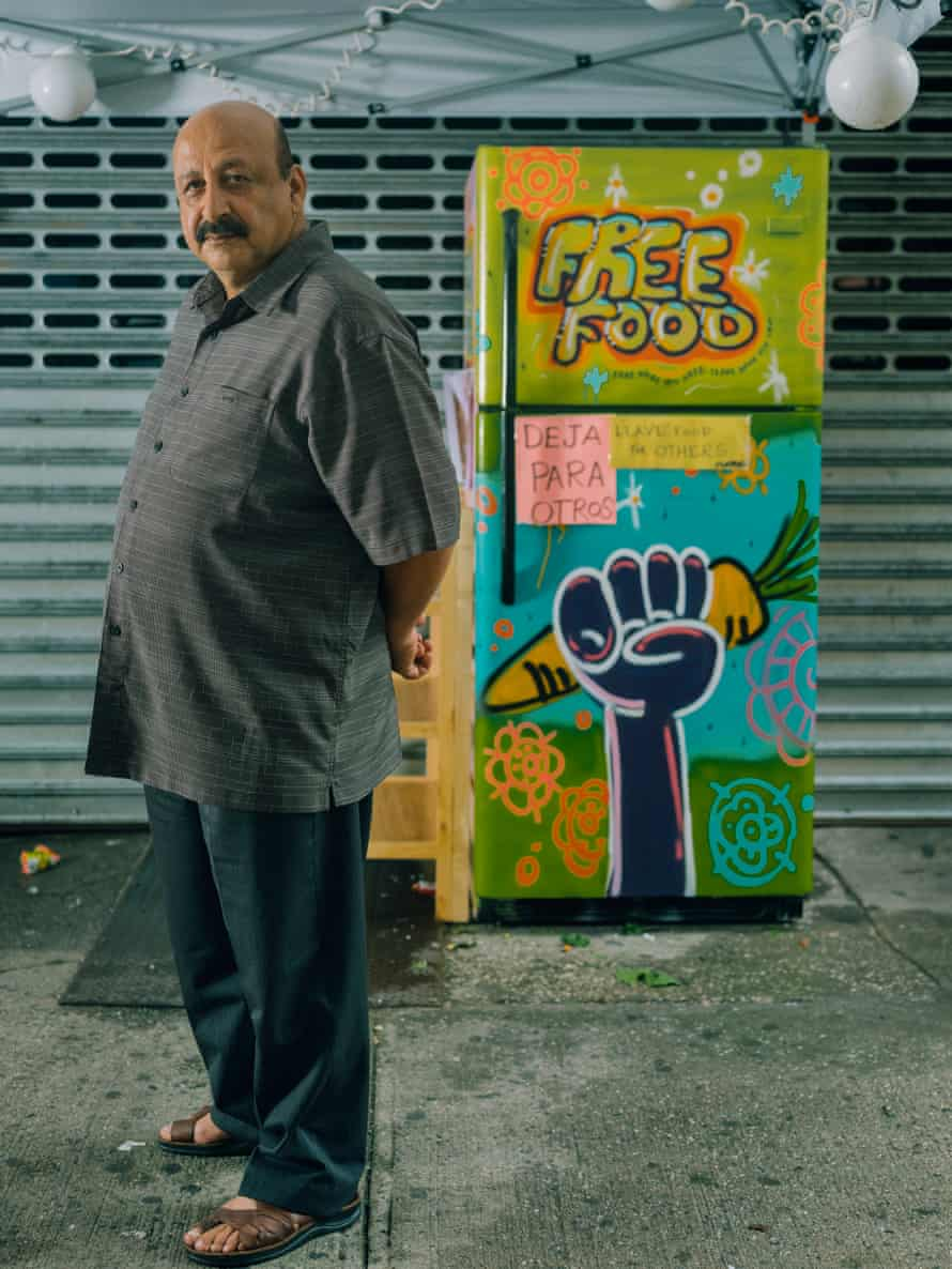 Mohaommad Alawdi works as a cab driver around Riverdale in the Bronx, where he frequently fills the community fridge.