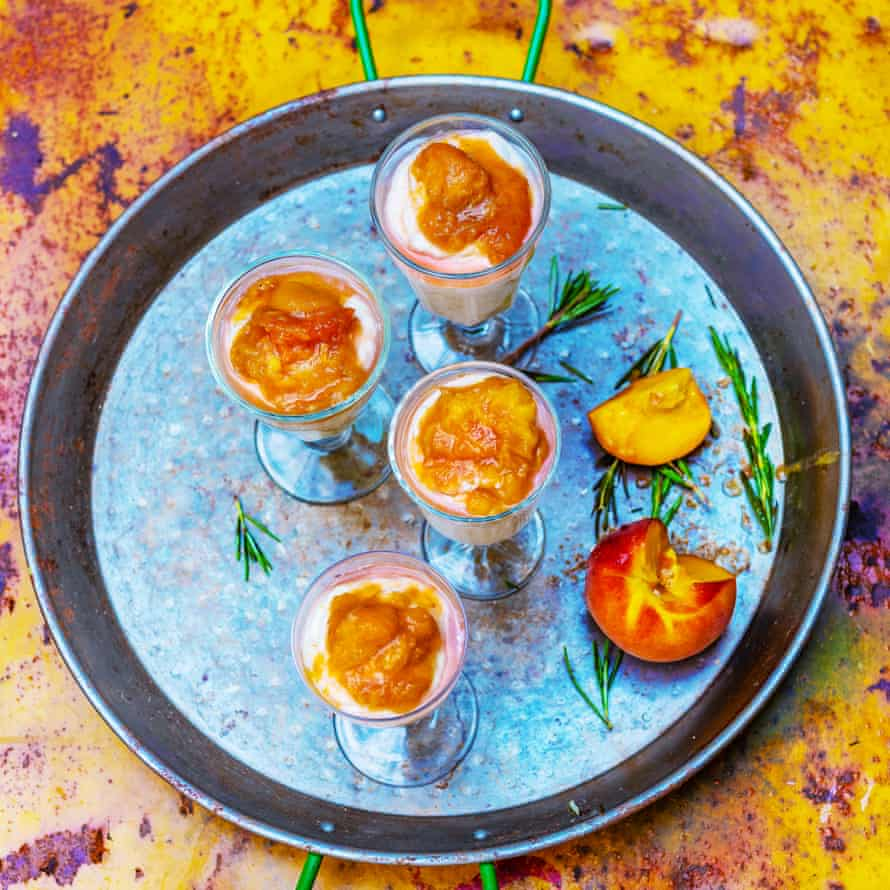 Grilled peach and rosemary fool.