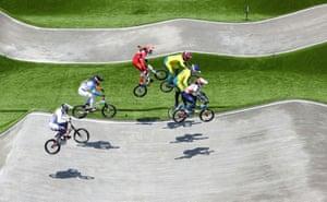 Vineta Petersone of Latvia, Manon Valentino of France, Zoe Claessens of Switzerland, Lauren Reynolds of Australia, Saya Sakakibara of Australia and Bethany Shriever of Britain ride BMX bikes