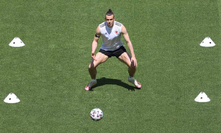 Gareth Bale trains with Wales in Baku before their first Euro 2020 game against Switzerland.