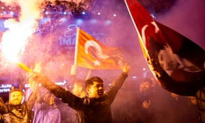 Supporters of the main opposition party celebrate what they claimed as victory in the local election in Istanbul on Sunday night.