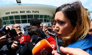 Itati Leguizamon, wife of one of the 44 crew members on the Argentinian submarine that disappeared speaks with the media at the naval base of Mar del Plata, Argentina on Monday.