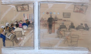 A sketch of the scene inside the courtroom at Camp Justice