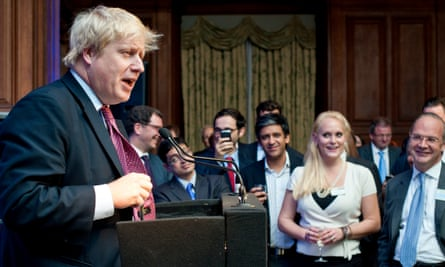 The moment the US businesswoman Jennifer Arcuri (front second right) first met Boris Johnson at at a gathering of venture capitalists in a central London in October 2011