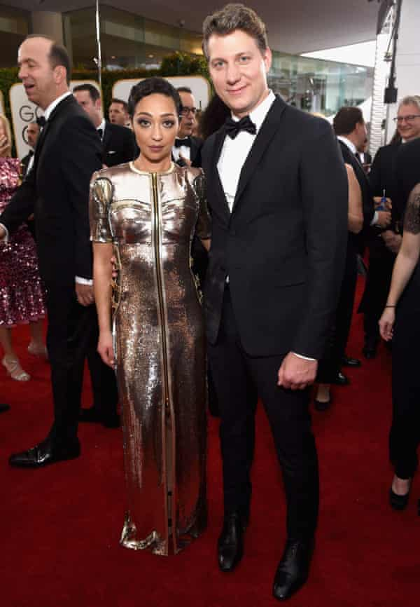 Glittering: with director Jeff Nichols at the Golden Globes.