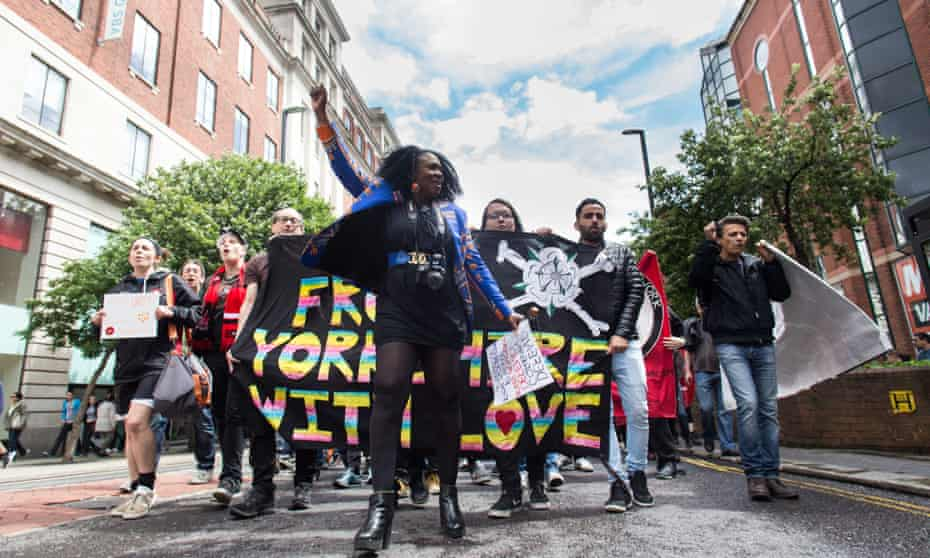 Protest against xenophobia and racism, Leeds, UK - 02 Jul 2016