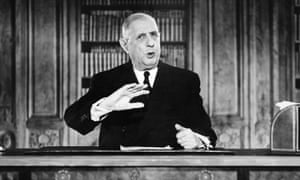 """""""French President General Charles de Gaulle gestures while addressing the nation during a TV speech on the eve of the New Year 1963 on December 31, 1962.  AFP PHOTO (Photo credit should read -/AFP/Getty Images)"""""""