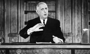 Charles de Gaulle, the subject of Julian Jackson's 'magisterial' A Certain Idea of France, making a New Year's Eve speech in 1962