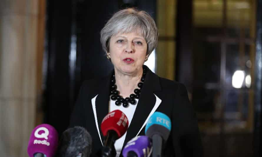 Theresa May speaking outside Stormont House in Belfast on Monday