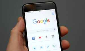 An Apple iPhone showing the app for Google chrome search engine
