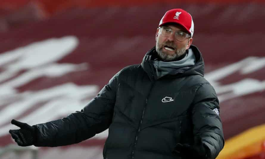 Jürgen Klopp reacts during his Liverpool team's draw with Manchester United at Anfield last Sunday.