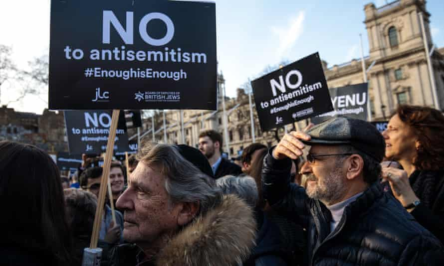 Protesters demonstrate against antisemitism in Parliament Square on Monday.