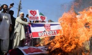 A protest in Karachi, Pakistan, targeting the French president, Emmanuel Macron.