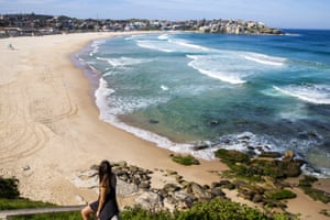 Bondi Beach along with other metropolitan Australian beaches is closed as measure to try and keep people apart during the coronavirus pandemic, March 22, 2020.