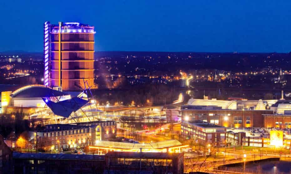 A view of Oberhausen, featuring the 118m-tall Gasometer, an exhibition space in a former gas holder.