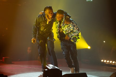 Burna Boy performs at Wembley with Dave last year