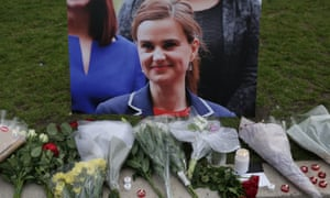 Floral tributes in Parliament Square to Jo Cox.