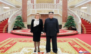 North Korean leader Kim Jong-un meeting with Valentina Ivanovna Matvienko, chairwoman of the Russian Federation Council, at the office building of the WPK Central Committee in Pyongyang.