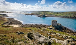 View across the coastline of Tresco in the Isles of Scilly.